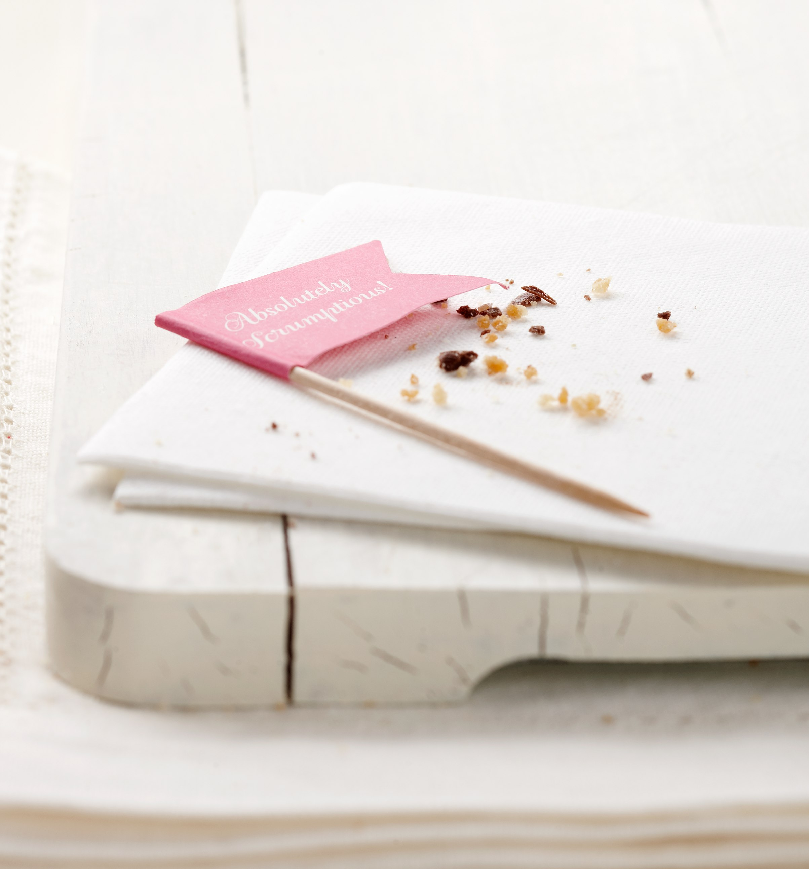 Crumb decorative cake topper flag napkin and crumbs