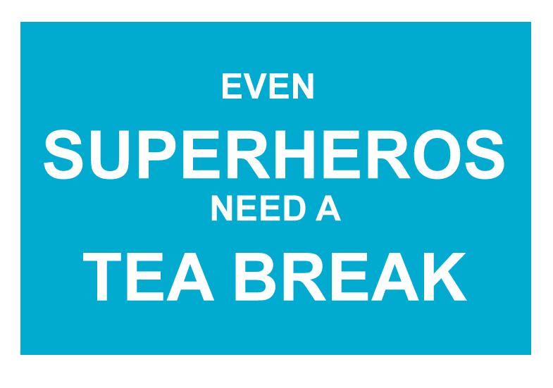 superhero A6 postcard